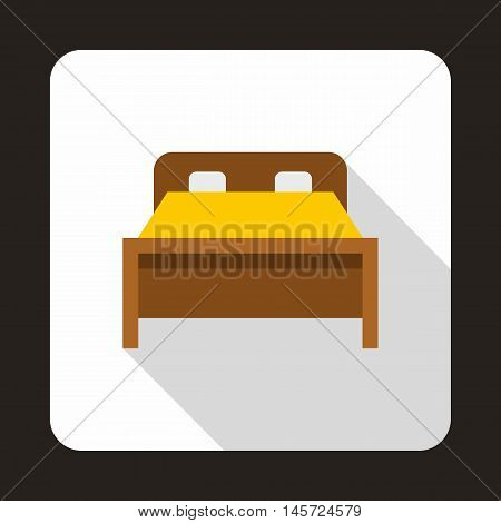Wood double bed icon in flat style on a white background vector illustration