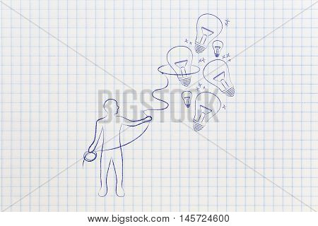 Person Collecting Lightbulbs (ideas) With A Lasso, Creativity Concept