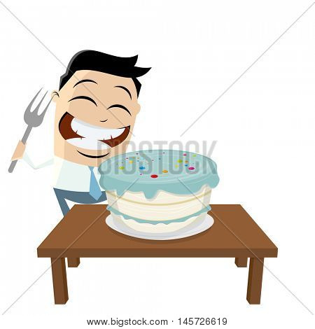 funny businessman with big cake and fork