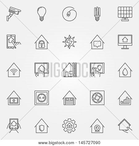 Smart home icons set. Vector collection of smart house concept symbols in thin line style. Home automation control systems signs