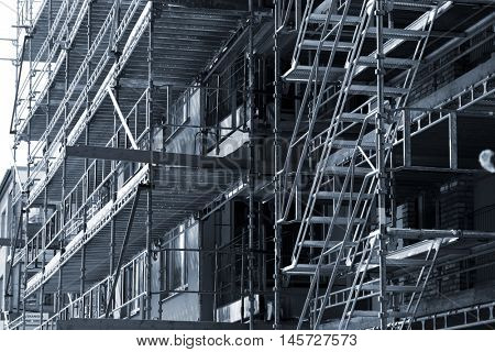 large construction scaffolding in selenium toning