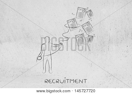 Recruiter With Lasso Catching A Group Of Falling Resumes