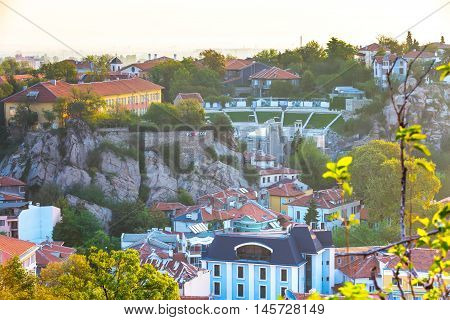 Plovdiv aerial skyline panorama, Bulgaria with Roman amphitheatre tower and houses
