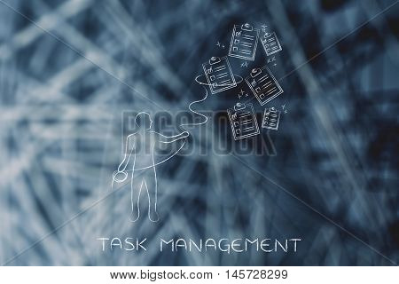 person with lasso catching falling to-do lists concept of time and task management poster