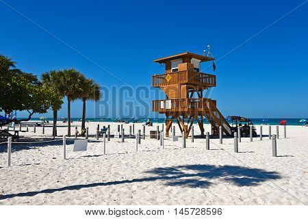 Lifeguard Observation Tower on Bradenton Beach Florida poster