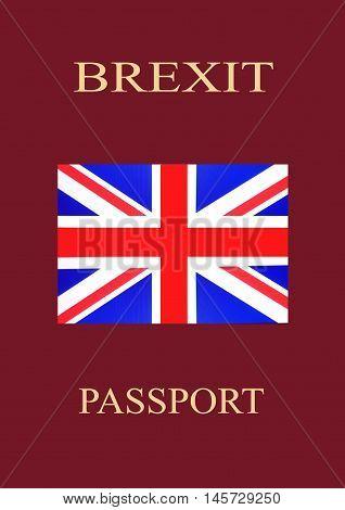 Brexit Passport with United Kingdom Flag - illustration