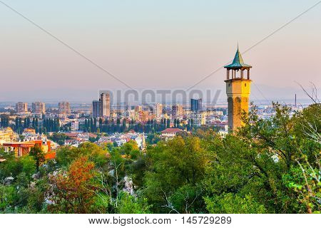 Plovdiv aerial skyline panorama, Bulgaria with Clock Tower at Sahat tepe, Danov hill