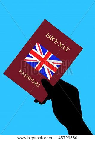 Hand Holding Brexit Passport on a Blue background