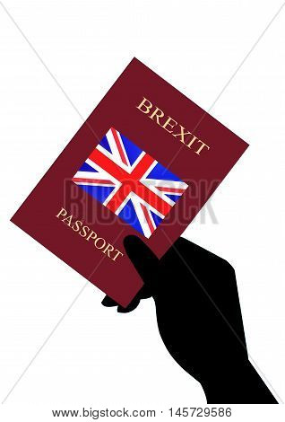 Hand Holding Brexit Passport on a White background