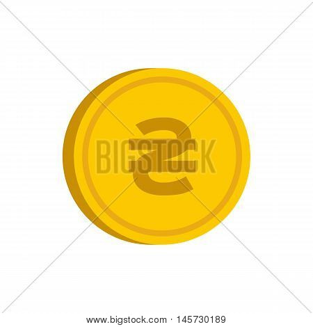 Gold coin with hryvnia sign icon in flat style on a white background vector illustration