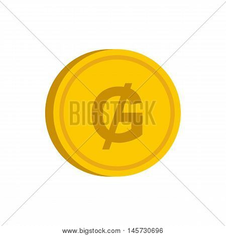 Gold coin with guarani sign icon in flat style on a white background vector illustration