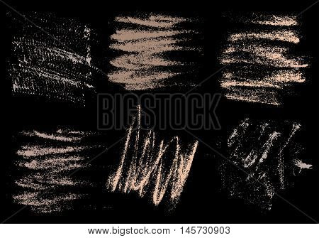 Vector charcoal hand drawing abstract on black background set chalk brush stroke design art pastel neutrals pale color grunge texture pattern drawing chalk on chalkboard