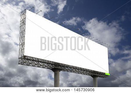 Blank big billboard against blue sky background for your advertising put your own text here ,isolate white on board,clipping path included