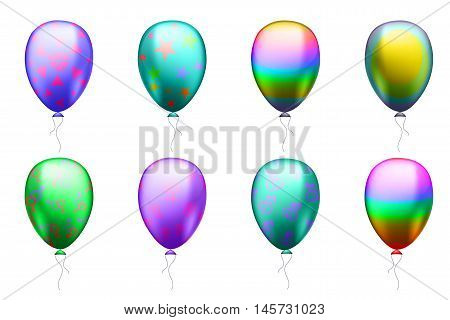 illustration of colorful balloons with symbols of the LGBT community