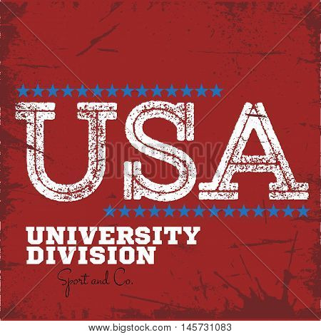 Varsity college university division team sport label typography, t-shirt graphics for apparel
