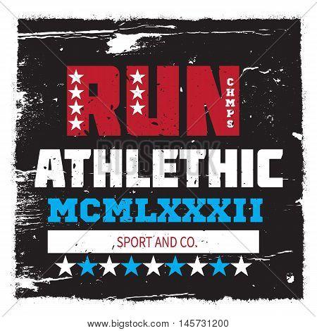 Athletic running sport university college badge emblem. For apparel.