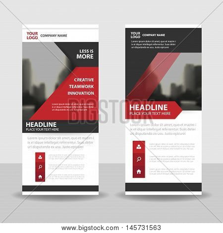 Red black triangle roll up business brochure flyer banner design cover presentation abstract geometric background modern publication x-banner and flag-banner layout in rectangle size.