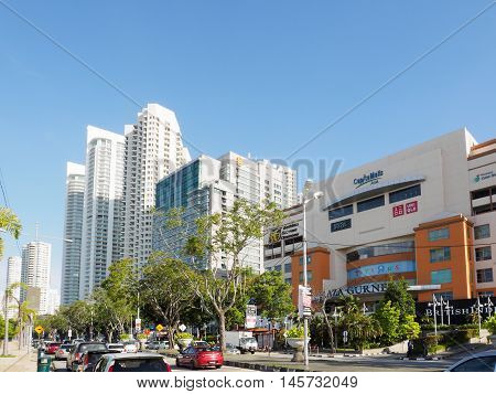 Penang, Malaysia - June 03 2016: The shopping malls office buildings and apartment buildings at Gurney Drive Jalan Sultan Ahmad Shah Georgetown Penang Malaysia.