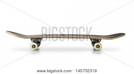 Old skateboard isolated on white