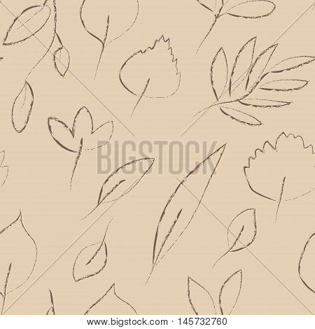 Beige and grey autumn leaves grunge seamless pattern, vector background