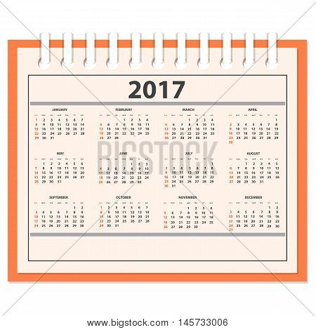 Business full calendar for desk on 2017 year. There are all of the 12 month. Week starts on Sunday. eps 10