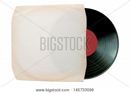 Vinyl record inside a white sleeve over a white background