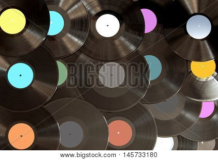 Large selection of vinyl lp records close up
