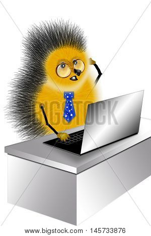 drawing hedgehog with computer in image serving in office