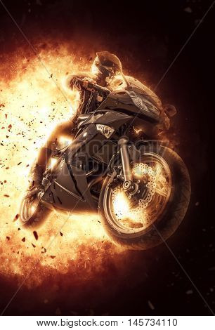 Woman riding a motor bike on exploding background