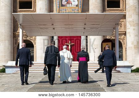Vatican City - September 3, 2016: Pope Francis, climbs the steps which lead to the churchyard, where it will be read the homily for the sanctification of Mother Teresa of Calcutta.