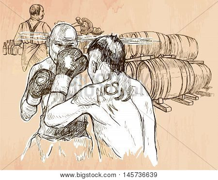 BOX. Boxing match in the pub. Freehand sketching line drawing. An hand drawn vector illustration. Colored background is isolated. Line art technique. Vector is easy editable.