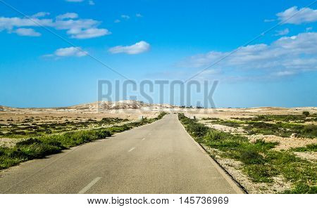 Road in Makhtesh Gadol or Large Crater, nature reserve in Negev desert in the spring, Israel