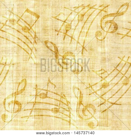 Notes with music elements as a musical background design - papyrus texture - seamless background
