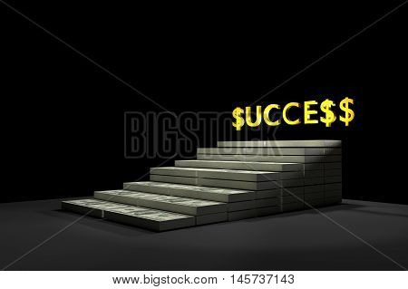 Stack of $100 dollar bills. with gold text SUCCESS,3d rendering ilustration,rich concept,a stair to rich concept,winner by rich ,money for life