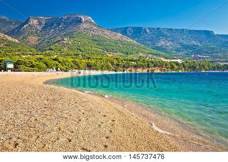 Zlatni Rat turquoise beach in Bol on Brac island Dalmatia Croatia
