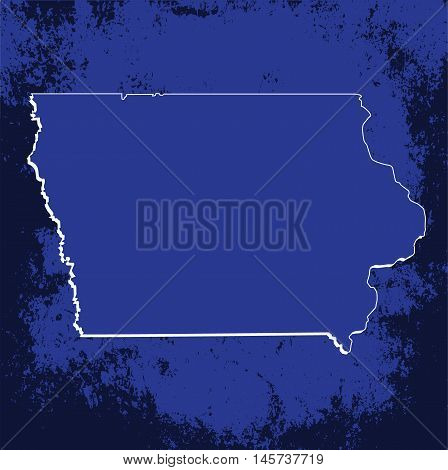 3D Iowa State USA Grunge Blueprint outline map