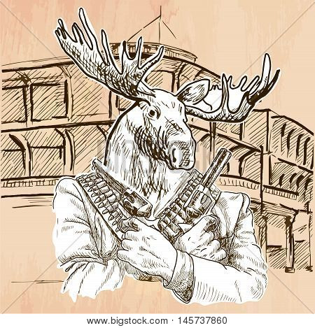 Gunman. Animal Shooter - Elk. Freehand sketching line drawing. An hand drawn vector illustration. Colored background is isolated. Line art technique. Vector is easy editable.