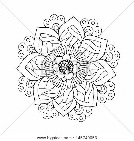 Fantasy flower. Hand drawn doodle. Floral patterned vector illustration. Sketch for colouring page tattoo poster print t-shirt