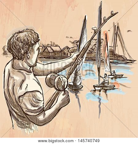 FISHING. An fisherman catch fish on the sea shore. Freehand sketching line drawing. An hand drawn vector illustration. Colored background is isolated. Line art technique - colored.