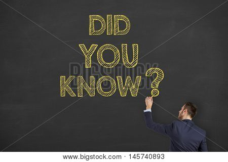 Did You Know Drawing on Blackboard Background