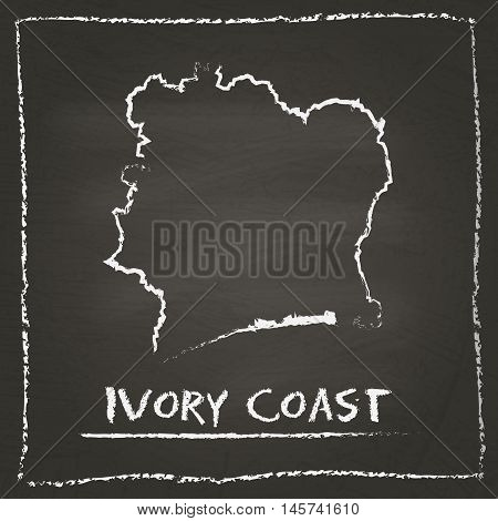 Cote D'ivoire Outline Vector Map Hand Drawn With Chalk On A Blackboard. Chalkboard Scribble In Child