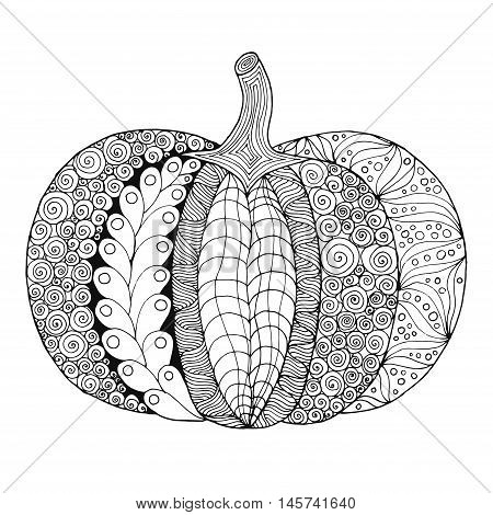 Zentangle stylized pumpkin. Black white hand drawn vector illustration. Traditional symbol of Thanksgiving Halloween autumn. Sketch for colouring page decoration poster print