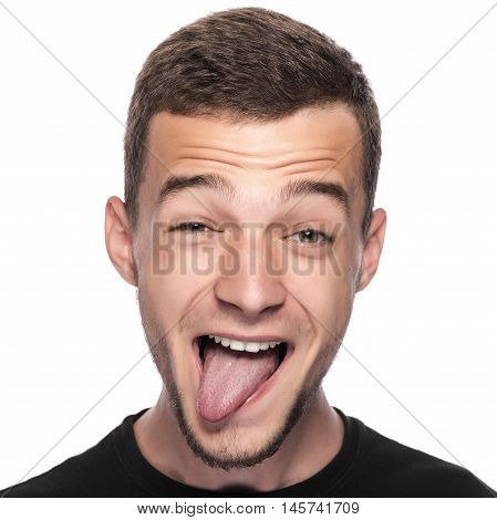 Man with funny face isolated on white.