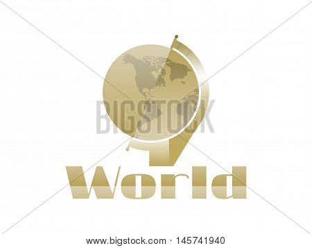 Globe in the art deco style on a white background. Statuette in retro style. Vector illustration.