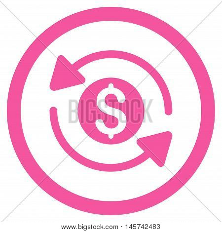 Money Turnover rounded icon. Vector illustration style is flat iconic symbol, pink color, white background.