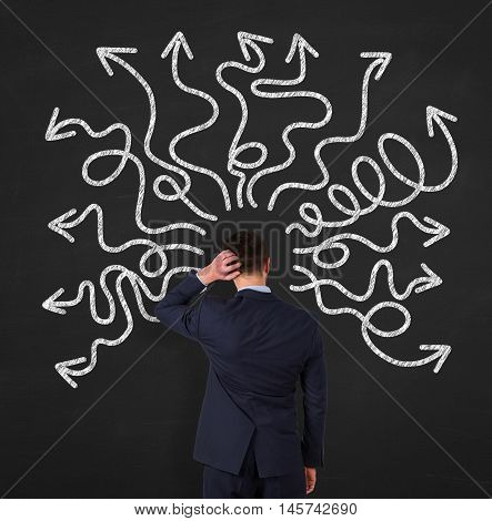 Business Person instability on Blackboard businessman working concept