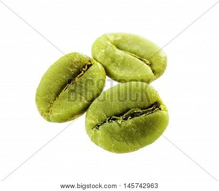 Diet green coffee beans isolated on white background.