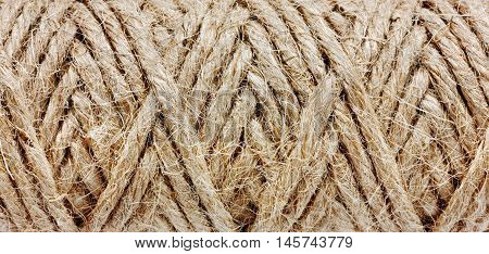 Abstract natural texture of a rope. Macro.