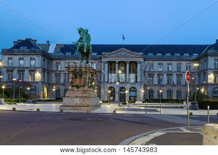 View of Rouen town hall with Equestrian statue of Emperor Napoleon Bonaparte in evening France
