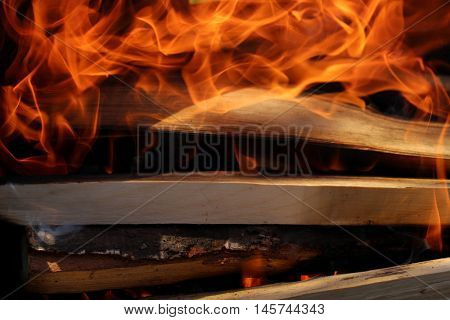 Charred wood and bright flames on dark background